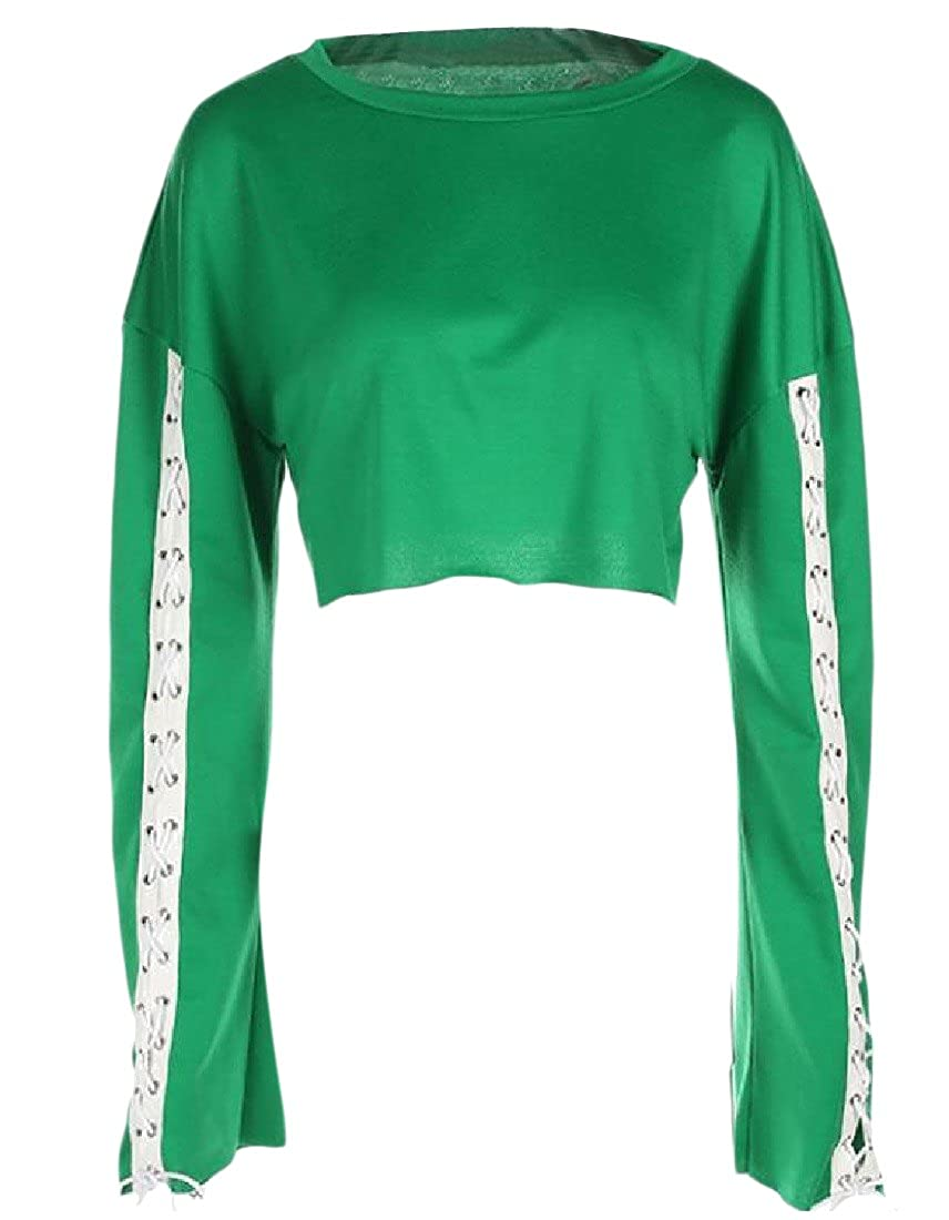 Honey GD Womens Solid Colored Strappy Crop Top Crew-Neck Pullover
