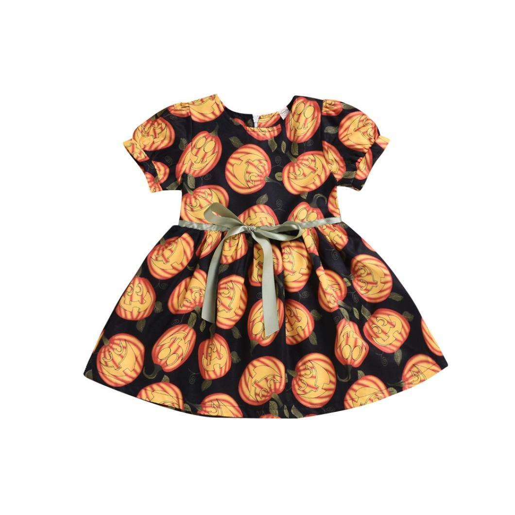 AmyDong Halloween Toddler Kids Dress Baby Girls Pumpkin Princess Dress Clothes