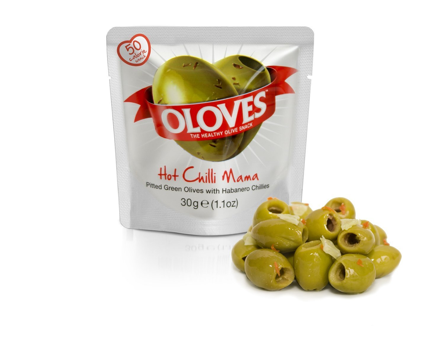Oloves Hot chilli mama, 48 x 1.1oz, Pitted Green Olives with Habanero Chilli