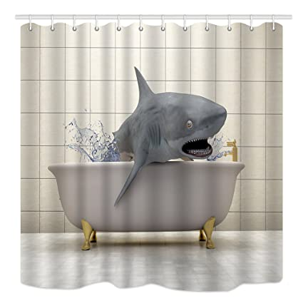 DYNH 3D Animals Shower Curtain Sharks In Bathtub Are Taking Mildew Resistant Waterproof Polyester