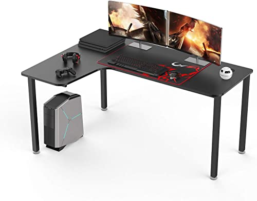 It s_Organized L Shaped Corner Desk 60 inch Computer Desk, Large Gaming Table with Mouse Pad, Modern Computer Gamer Workstation for Home Office Working Gaming,Black