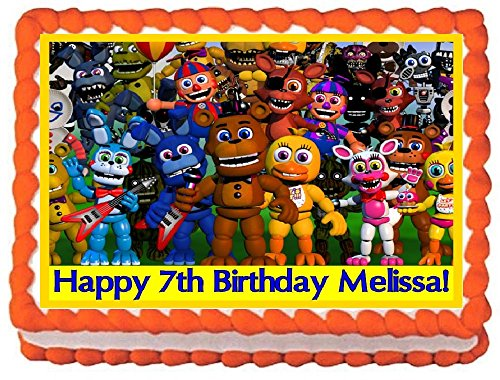 Price comparison product image Five Nights At Freddy's Personalized Edible Cake Topper Image - 1 / 4 Sheet