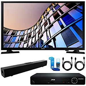 Samsung UN32M4500 32-Inch 720p Smart LED TV (2017 Model) + HDMI 1080p High Definition DVD Player + Solo X3 Bluetooth Home Theater Sound Bar + 2x HDMI Cable + LED TV Screen Cleaner