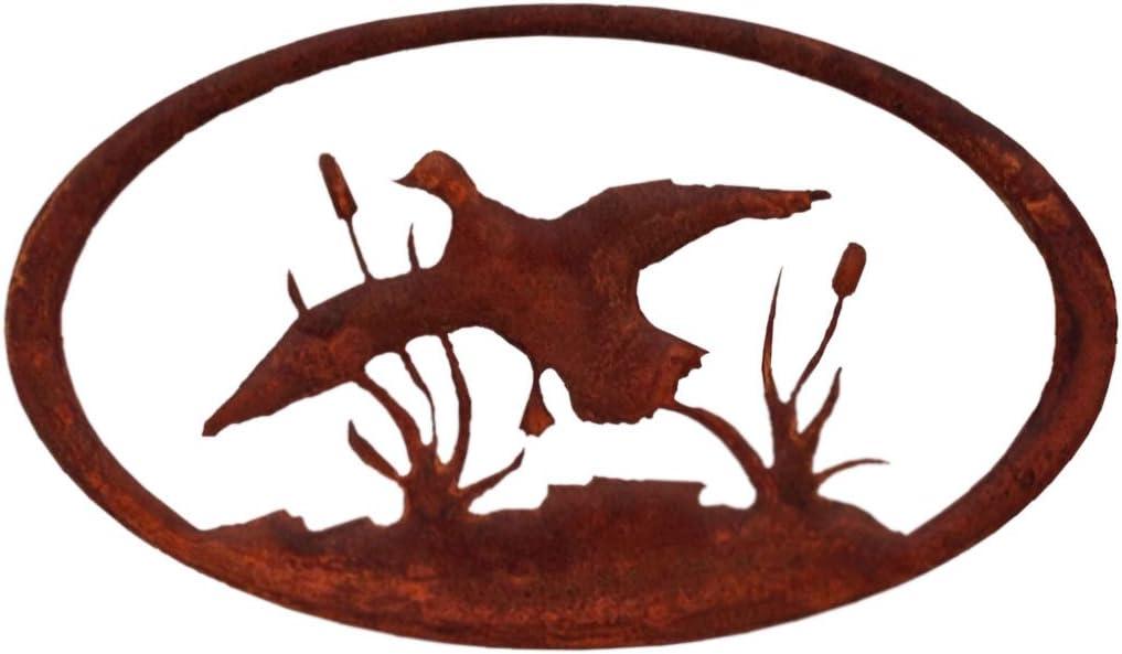 7055 Inc Duck Oval Metal Decor, Rust Patina