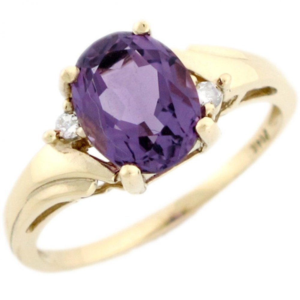 14k Real Yellow Gold Amethyst & Diamond Beautiful Ladies Ring