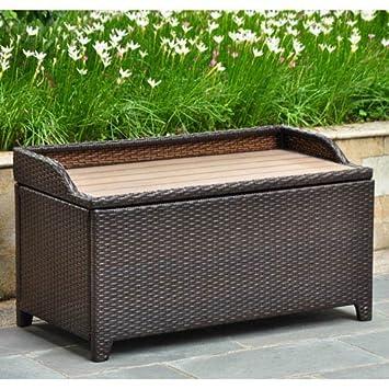 Super International Caravan Barcelona Resin Wicker Aluminum Outdoor Storage Bench Chocolate Ncnpc Chair Design For Home Ncnpcorg