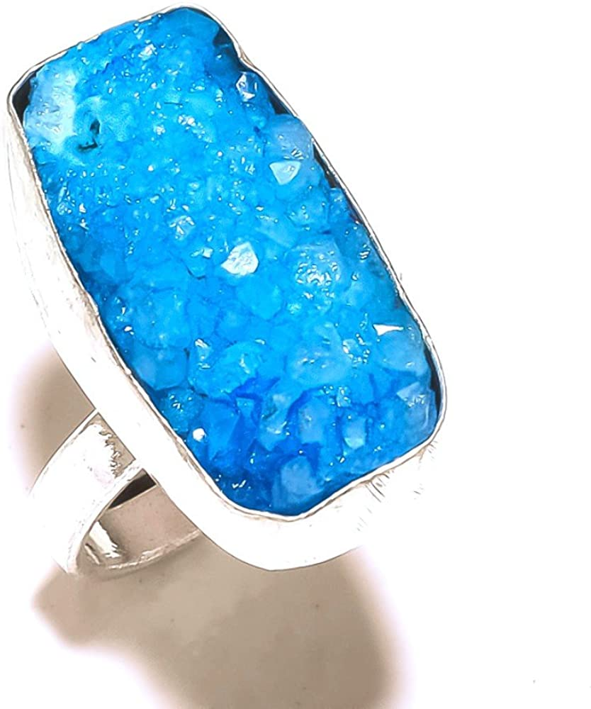 Blue Solar Druzy Handmade Jewellry 925 Sterling Silver Plated 11 Grams Ring Size 9 US Girls Gift Jewelry