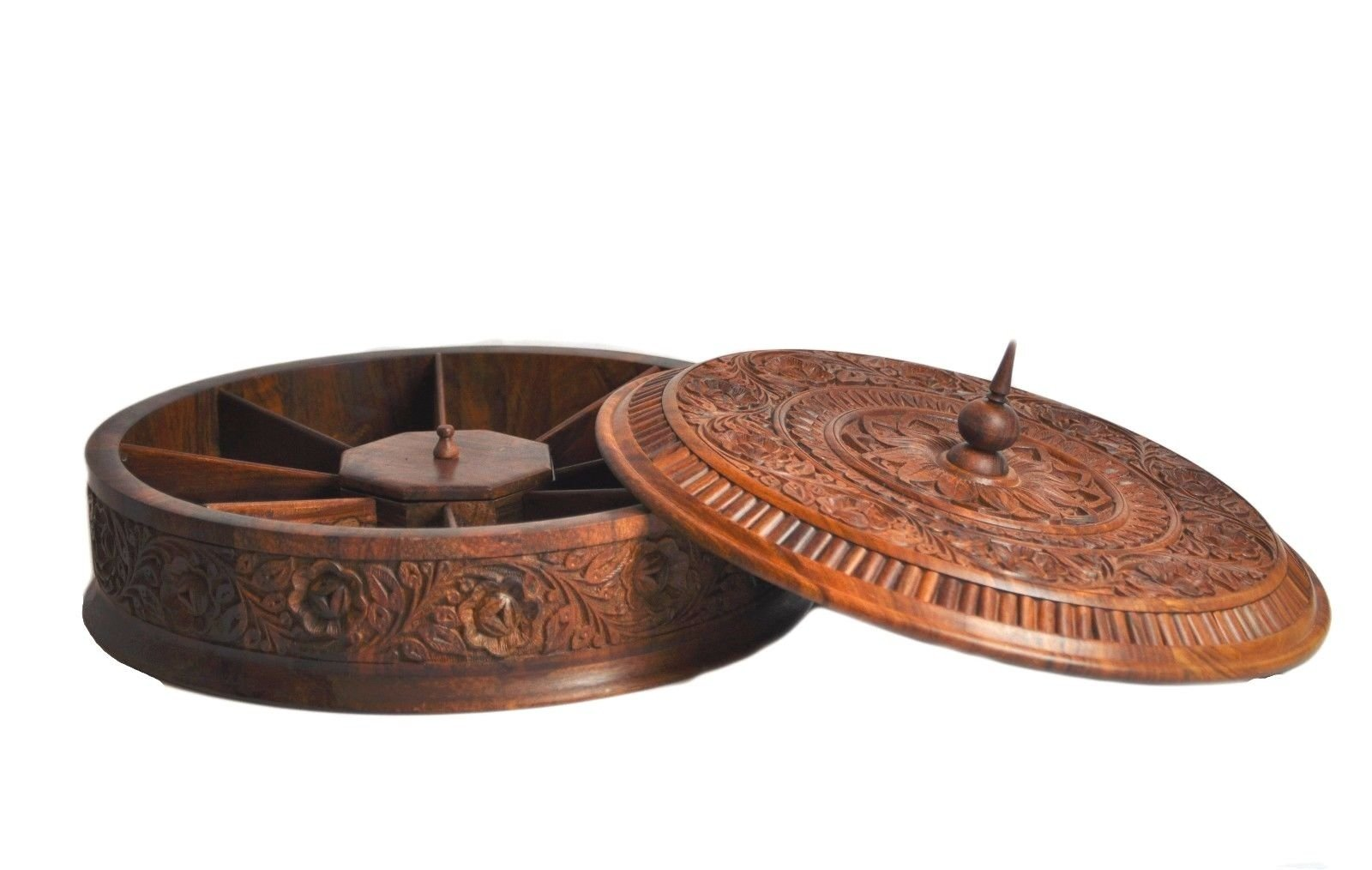 Wooden carved Dry fruits and nuts Big Bowl with Lids - Kitchen decor- Kitchen organization- Rosewood carved work