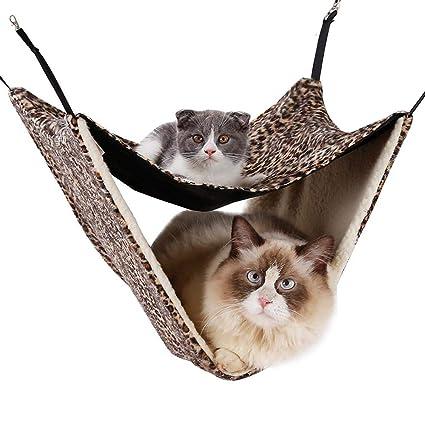 DJLOOKK Ventana montada Hamaca para Gato Otoño e Invierno Hamaca de Gato Doble Colchoneta de Gato ...