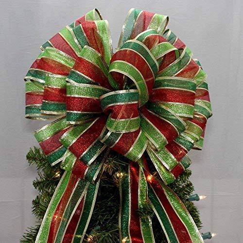 Metallic Stripe Christmas Tree Topper Bow - 13