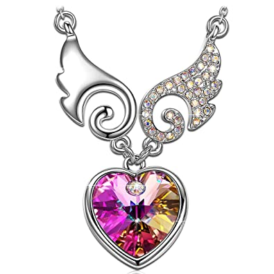 40553ac09 Amazon.com: Kate Lynn Mothers Day Necklace Jewelry Gift Womens Purple Heart  Crystals Fairy Swing Pendant Necklace for Her Birthday Gifts for Daughter:  ...