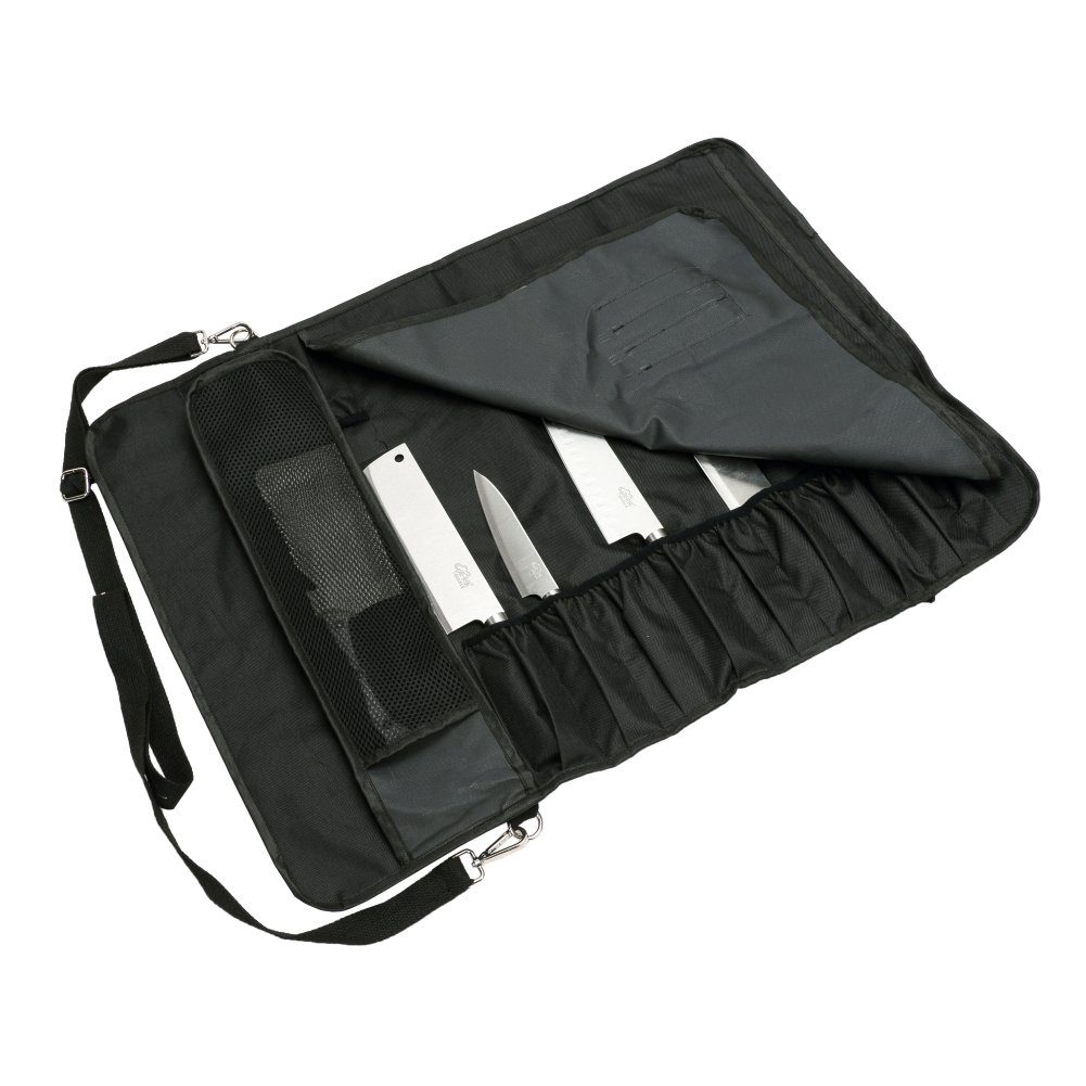 Chef's Knife Roll with 17 Slots Can Holds 13 Knives, 1 Meat Cleaver, And 3 Utensil Pockets Multi-function Knife Roll with Handle, Shoulder Strap & Zippered Mesh Pocket Holder HGJ60 by Hersent (Image #3)