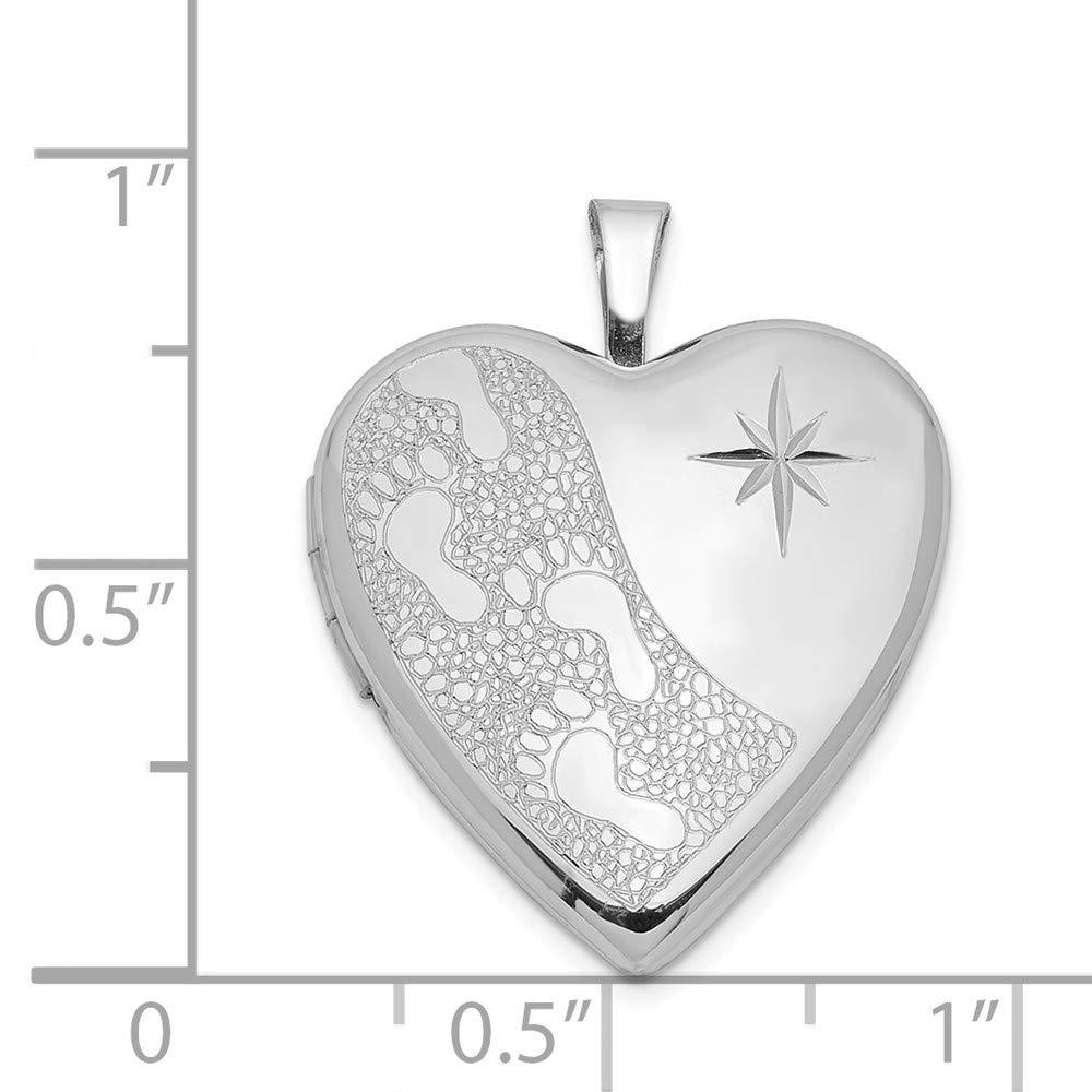 Sterling Silver 20mm Diamond Cut Footprints Heart Locket Solid 20 mm 25 mm Locket Pendants /& Charms Jewelry