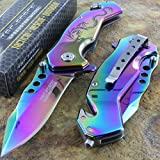 TAC Force Spring Titanium Rainbow Blade Dragon Assist Rescue Glass Breaker Pocket Knife Review