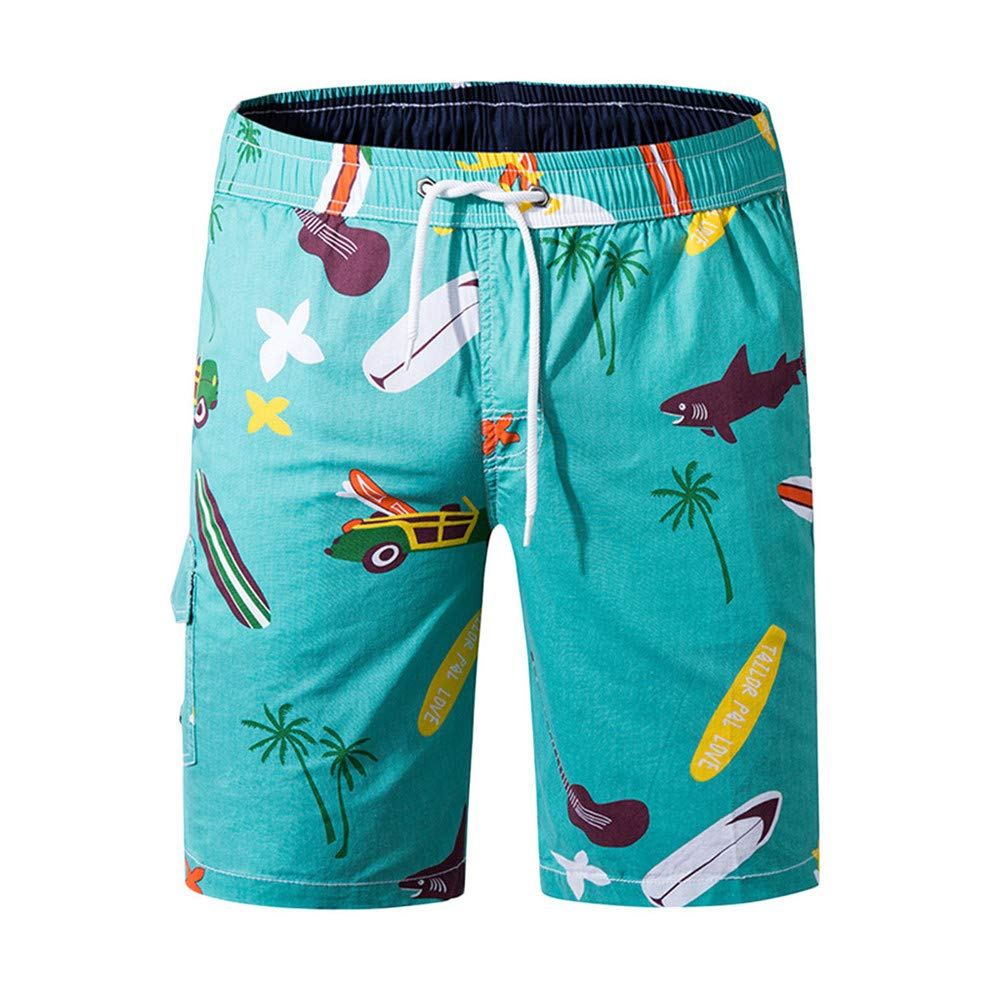 Dempuss Men Swim Trunks Printed Drawstring Elastic Waist Beach Shorts