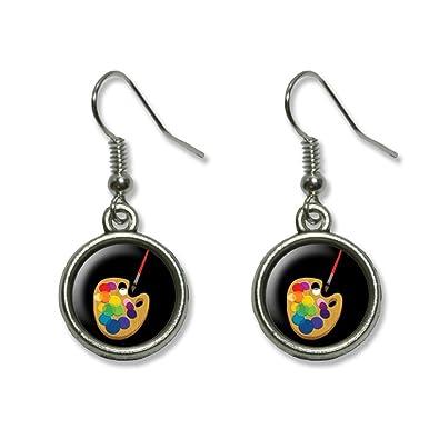 23119d97eb7ab Painters Palette Black - Artist Painting Novelty Dangling Dangle Drop Charm  Earrings