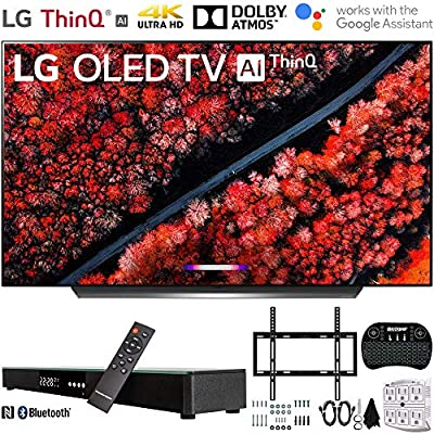 "LG C9 4K HDR Smart OLED TV w/AI ThinQ (2019) w/Soundbar Bundle Includes, Deco Gear Home Theater Surround Sound 31"" Soundbar, Flat Wall Mount Kit for 45-90 inch TVs and"