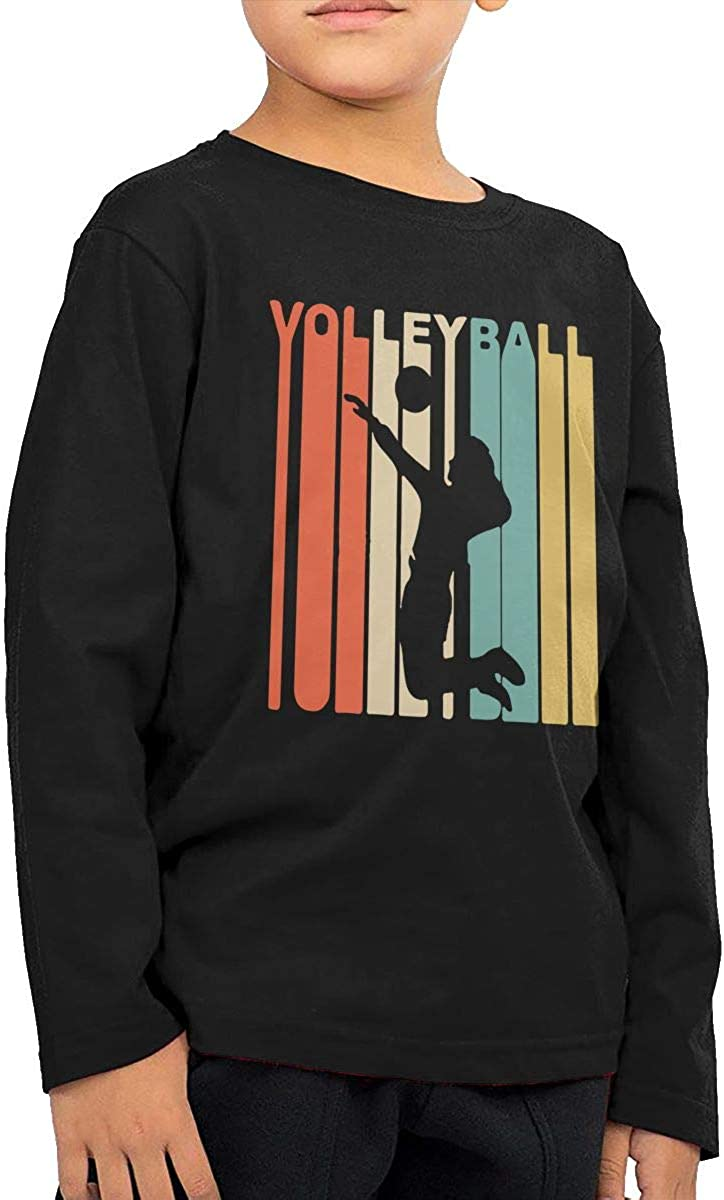 Retro 1970s Style Volleyball Player Kids Boys Girls O-Neck Long Sleeve Shirt Tee for Toddlers