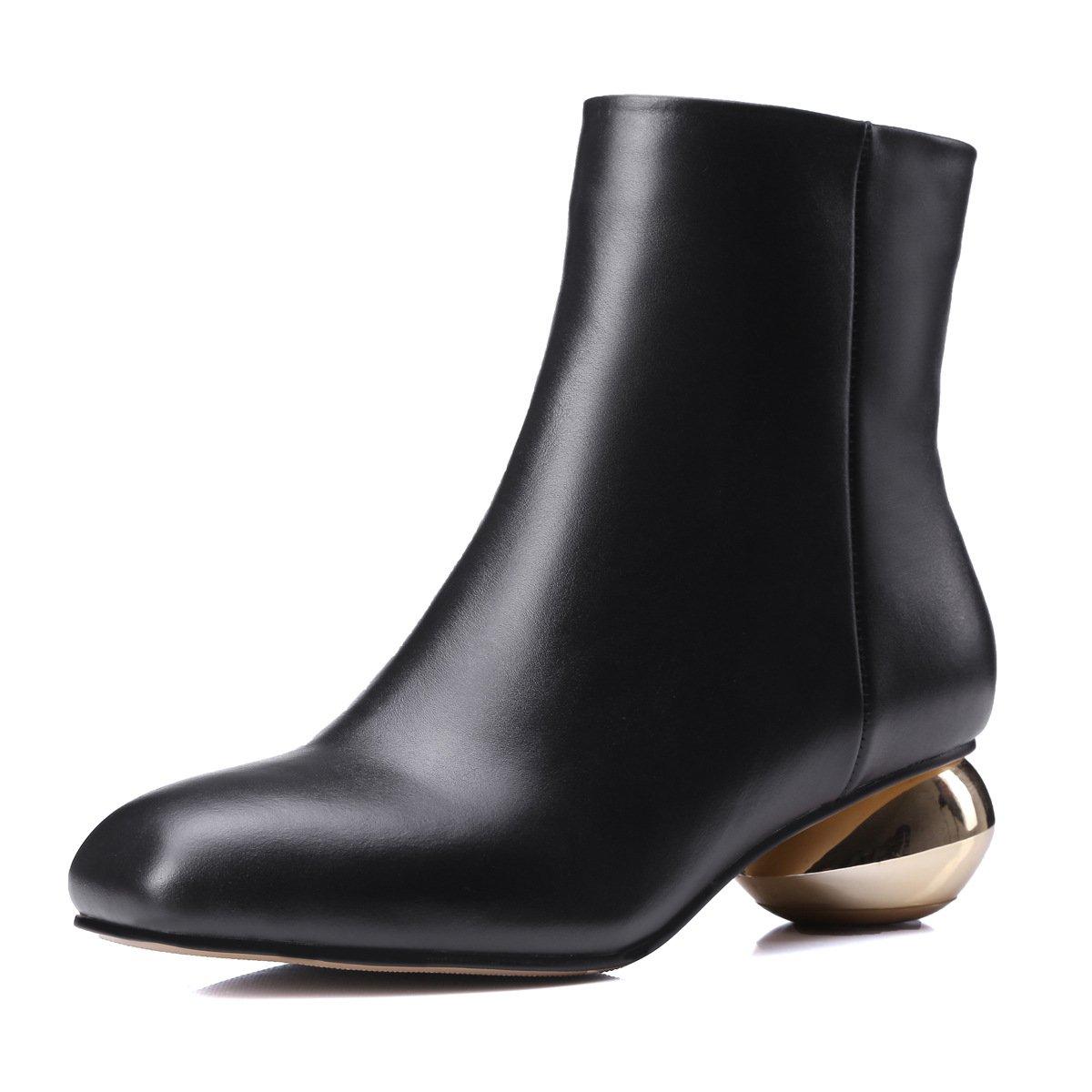 0f7786258781d DYF Botas Zapatos de Mujer Botas DYF Cortas tal oacute n Heterosexual  Cabeza Cuadrada de Color s oacute lido 833cf9
