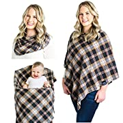 Breastfeeding Nursing Cover Scarf - Rayon/Spandex Jersey Knit Super Soft Stretchy Breathable Lightweight Nursing Poncho, Carseat Canopy & Baby Car Seat Cover. FREE Matching Pouch By Chuckle & Cuddle