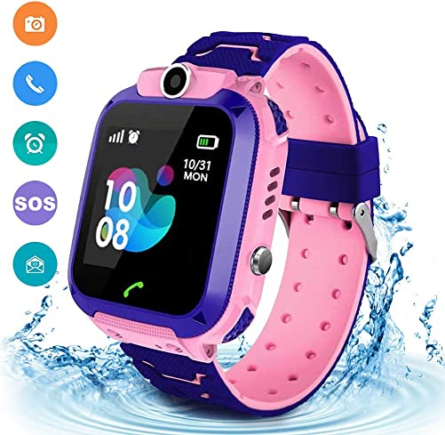 Kids Smartwatch Waterproof GPS LBS Tracker with Phone Touch Screen Game SOS Call Camera Child Watch SIM Card Slot Compatible iOS and Android