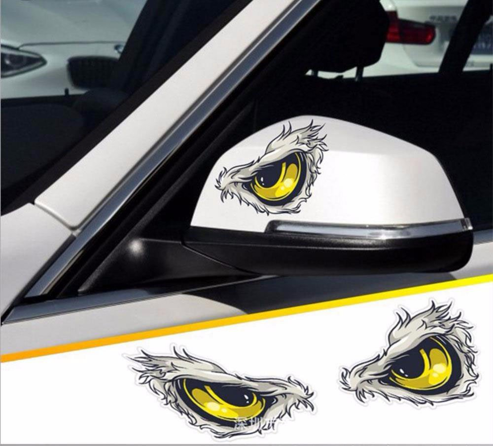 Amazon com lanlan car stickers reflective 3d eyes decals car stickers rearview mirror car head styling sticker automotive