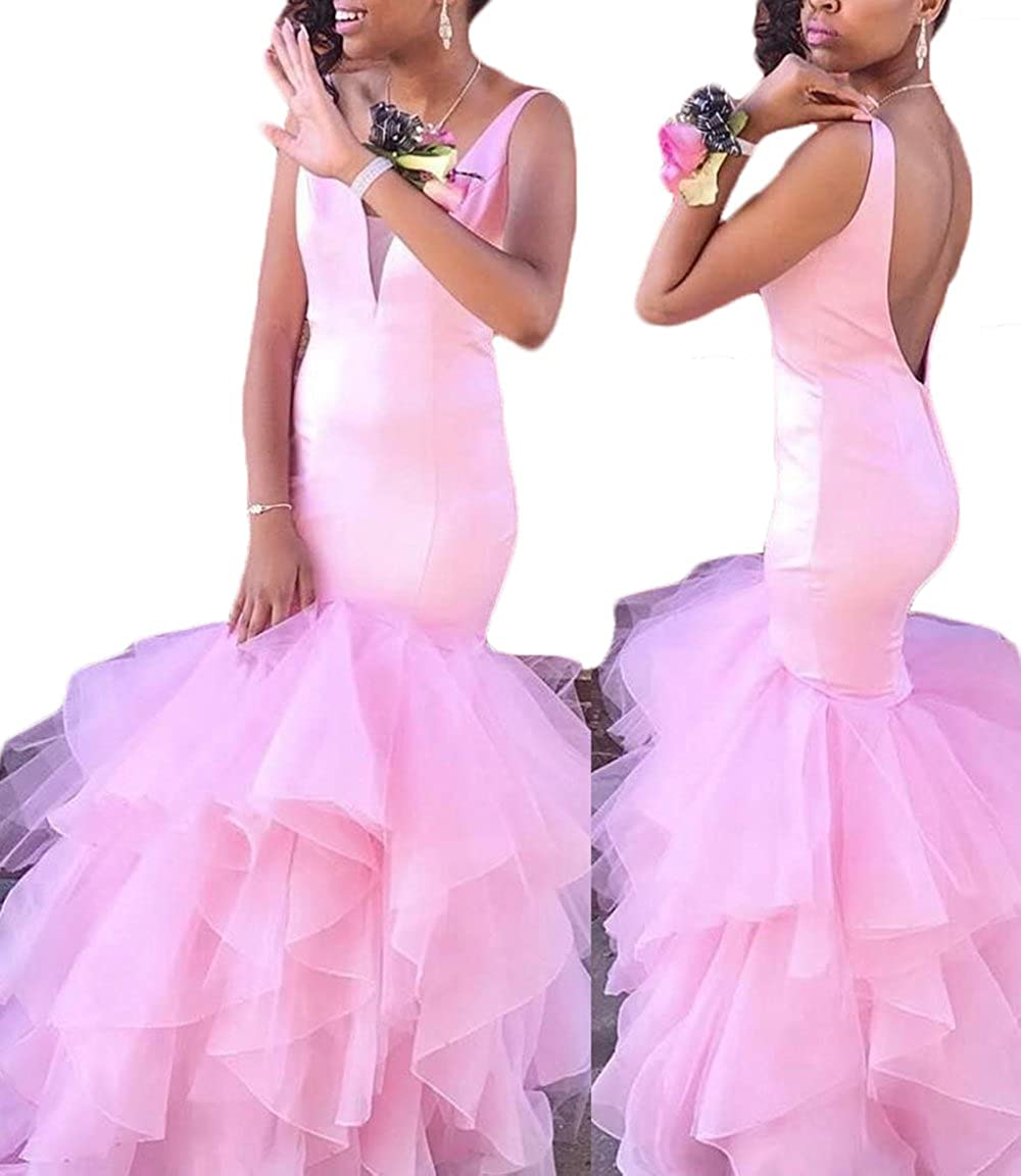 Amazon.com: Sexy Backless Pink Prom Dresses Mermaid Long Evening Gowns: Clothing