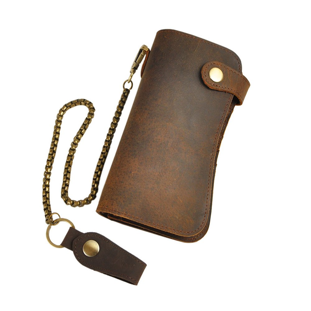 Magibag Men Leather Wallet Bifold Business Long Purse with Chain Card Cases