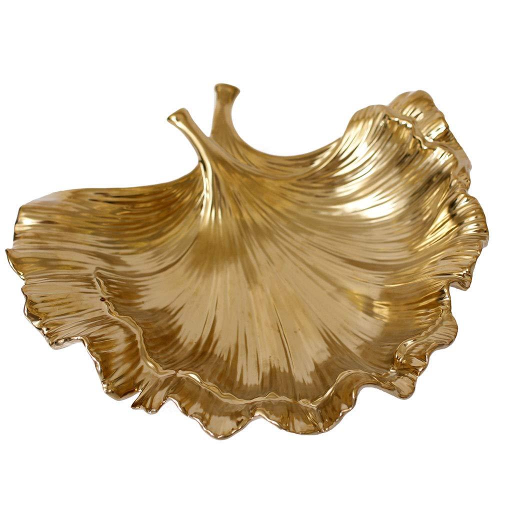 クリエイティブ葉セラミックスフルーツ皿フルーツバスケットプレートフルーツボウルフルーツラックキッチンリビングルームの装飾 (色 : ゴールド)  ゴールド B07MXTKGFY