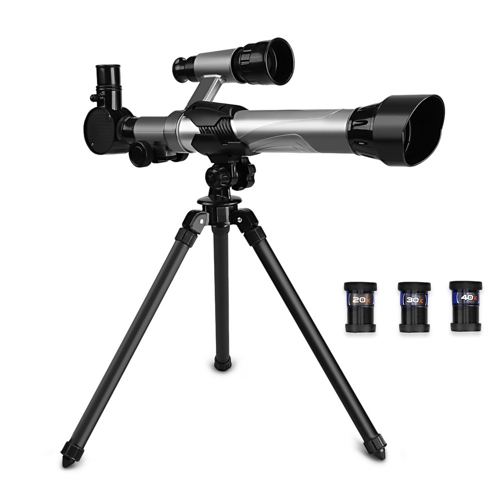 OUTLIFE Telescope for Kids, Astronomical Refracter Science Telescope with Tripod 3 Eyepieces,Travel Scope Exploration Toys Portable Telescope for Children & Beginners (Black)