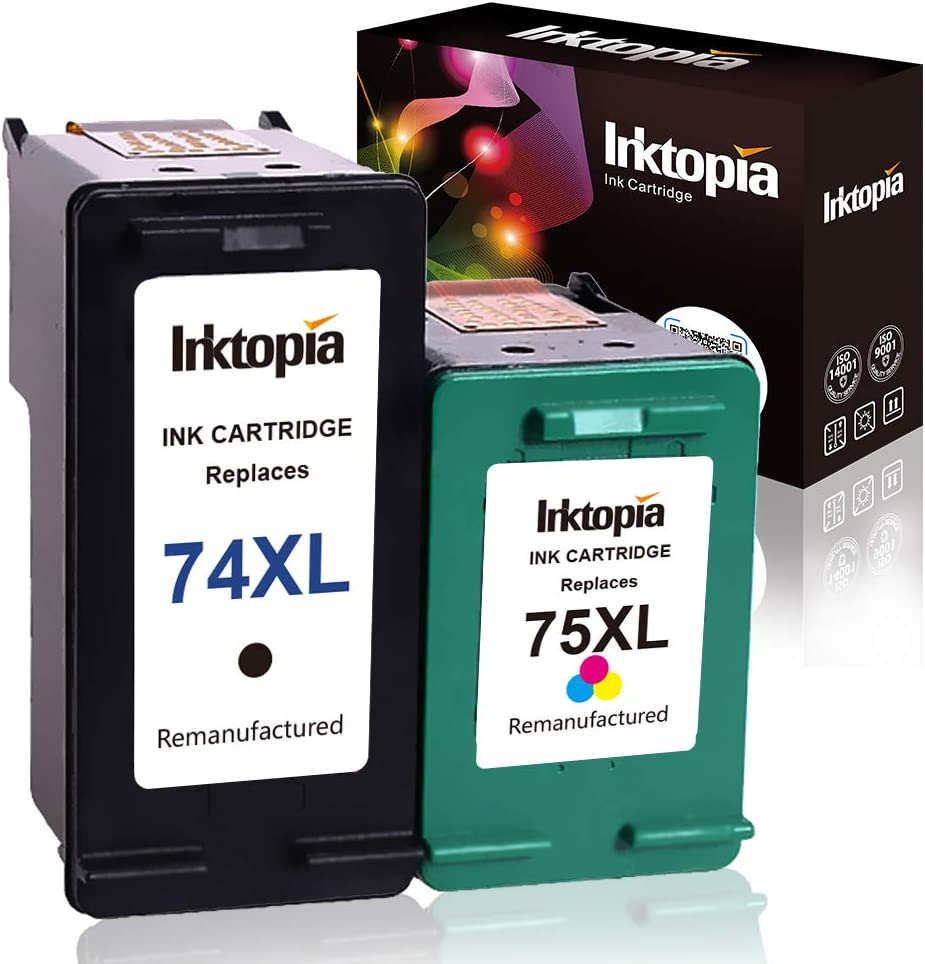 1 Black and 1 Tri-Color Remanufactured Ink Cartridge Replacement for HP 74XL 74 XL 75XL High Yield for Deskjet D4260 D4360 Officejet J05725 J6405 Photosmart C4280 C4385 C4480 C4580 C5280 C5580 D5360