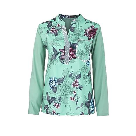 Mujer blusa camiseta tops manga larga Otoño,Sonnena Las mujeres más el tamaño con cuello en V de manga larga blusa con lentejuelas Tops camiseta ...