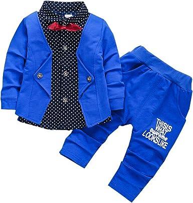 Pants 2pcs Baby Boy Dress Clothes Toddler Outfits Infant Tuxedo Formal Suits Set Shirt