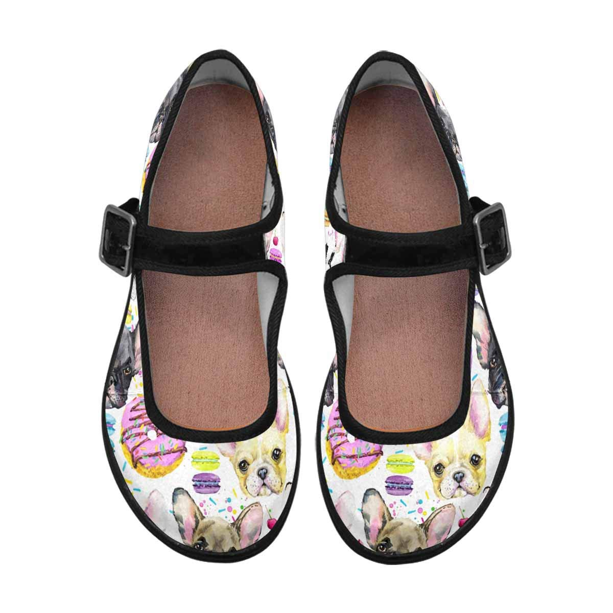 INTERESTPRINT Womens Slip-Resistant Mary Jane Flats for Dr Scholls Puppy French Bulldog with Sweet Macaron