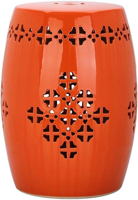 Safavieh ACS4535D Quatrefoil Ceramic Decorative Garden Stool, Orange