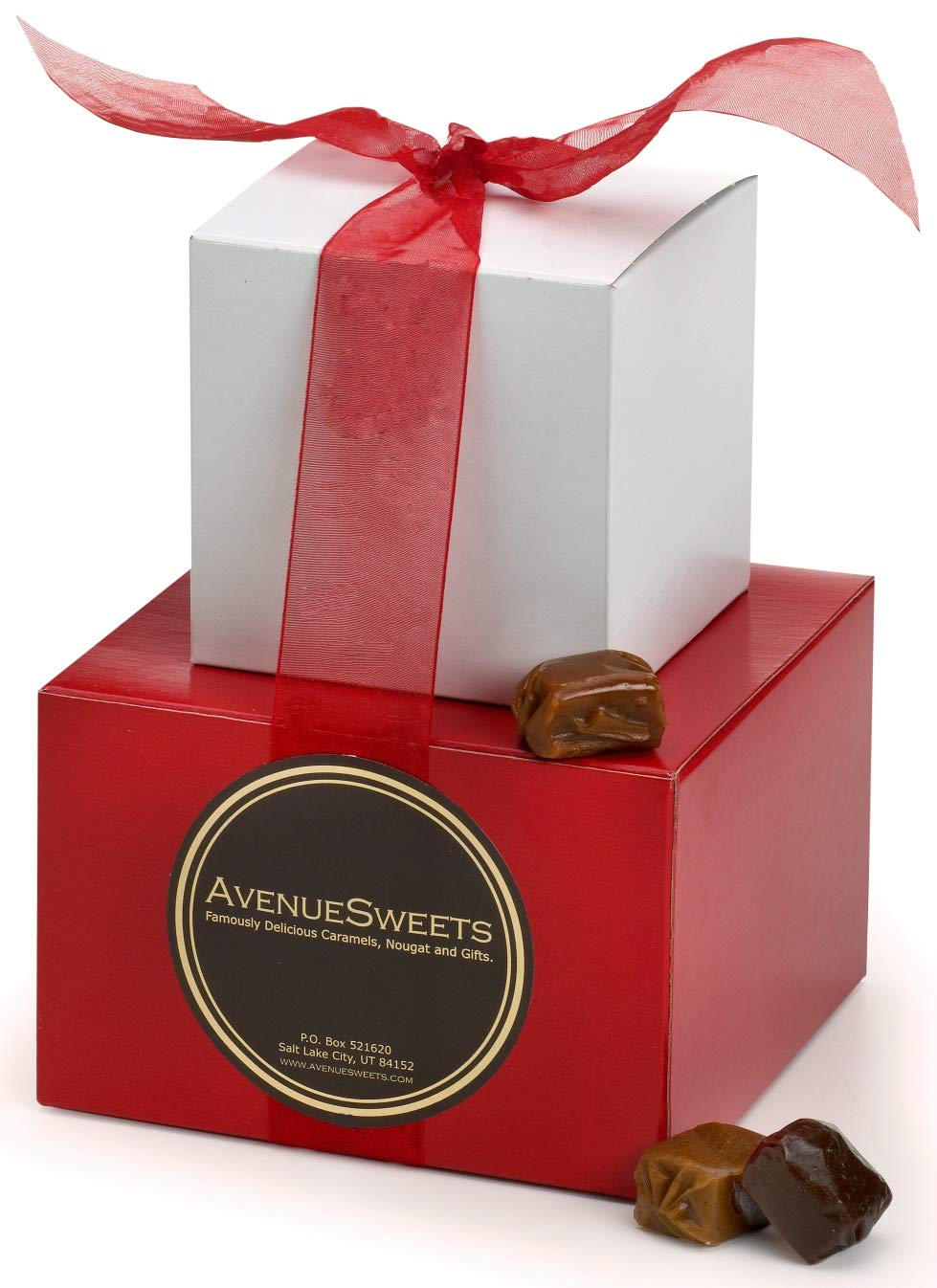 AvenueSweets - Handcrafted Individually Wrapped Soft Caramels - Red/White 2 lb Gift Tower - Customize Your Flavors by AvenueSweets