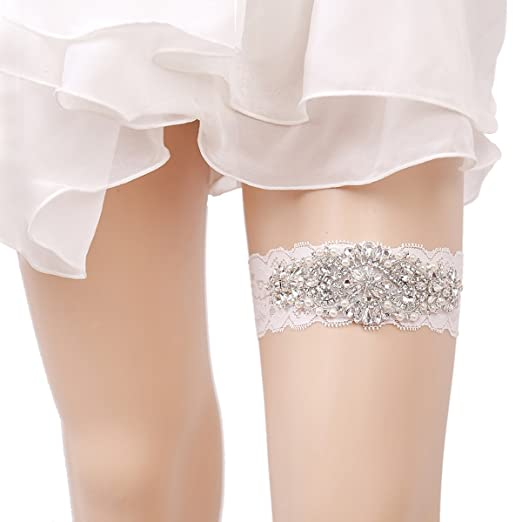 cdd009538d8 Amazon.com  OURIZE Wedding Lace Garter for Bridal Rhinestones Garter ...