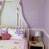 Amazon.com: Color rosa y morado mariposa Reina Cama Falda ...