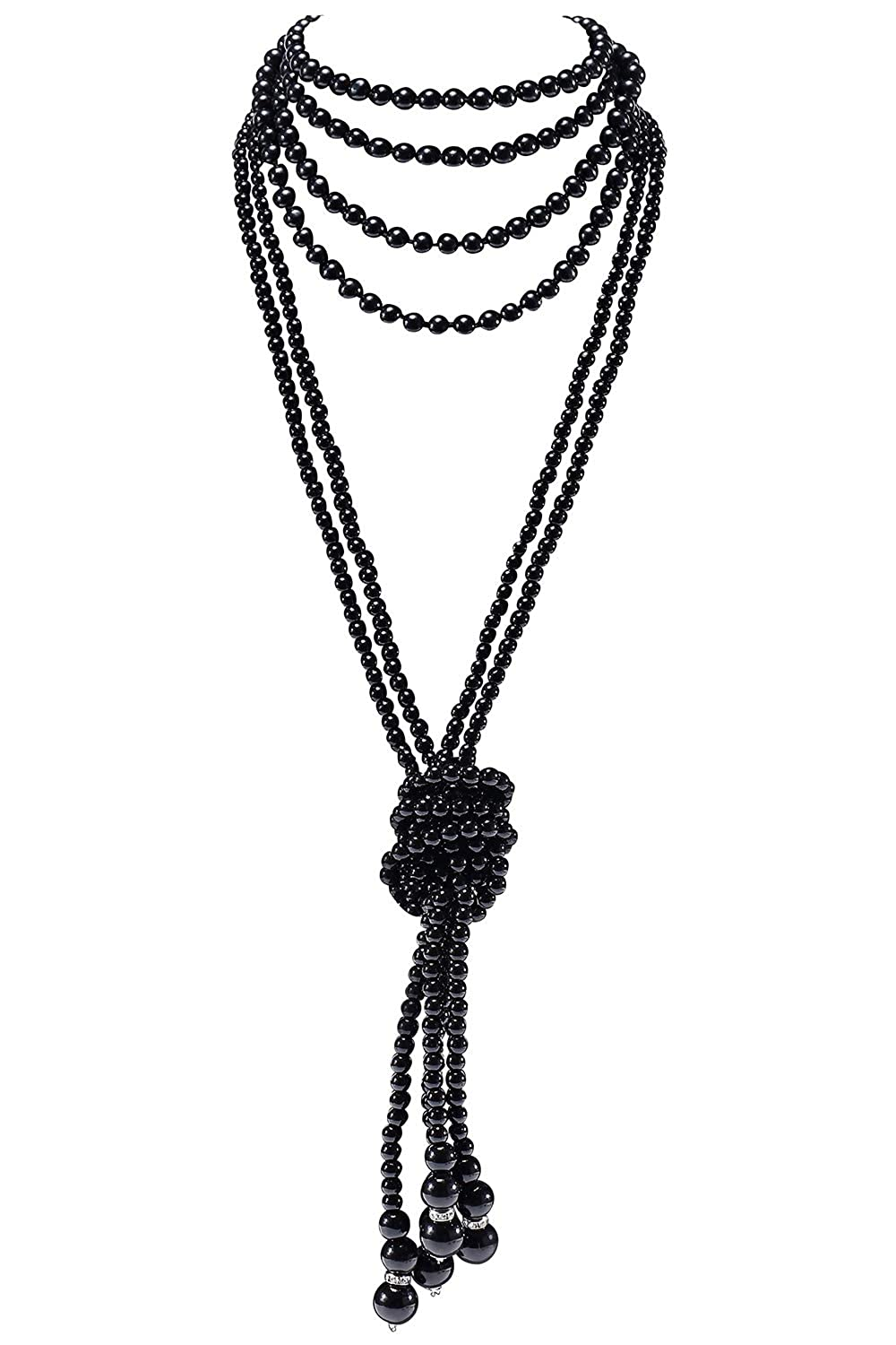 Knot Pearl Necklace2 + 59 inch Necklace1 BABEYOND 1920s Imitation Pearls Necklace Gatsby Long Knot Pearl Necklace 49 inch and 59 inch 20s Pearls 1920s Flapper Accessories