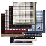 Leevo Handkerchief Men Assorted Woven Cotton 100% Hankies Fashion 8pack Opp (17.5inch No.1~8 Assorted 8pack Bulk)