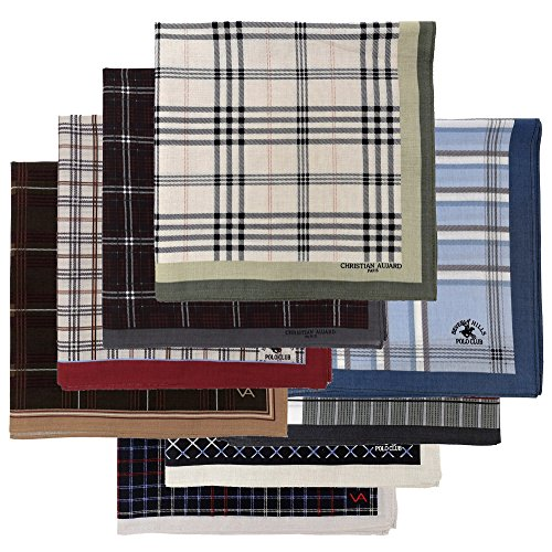 Leevo Handkerchief Men Assorted Woven Cotton 100% Hankies Fashion 8pack Opp (17.5inch No.1~8 Assorted 8pack Bulk)