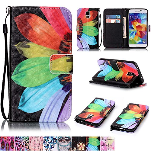 (Galaxy S5 Case,Firefish [Kickstand Feature] Durable Leather Flip Folio Wallet Case with Card Slot and Anti-scratch Protective Cover for Samsung Galaxy S5-Sunflower)
