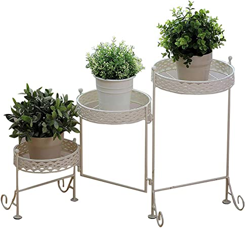 Estantes para plantas / estanteria jardin Soporte de flores Arte de hierro Estantería de flores Planta de flores múltiples capas Soporte de exhibición Balcón al aire libre de interior estanterias de j: