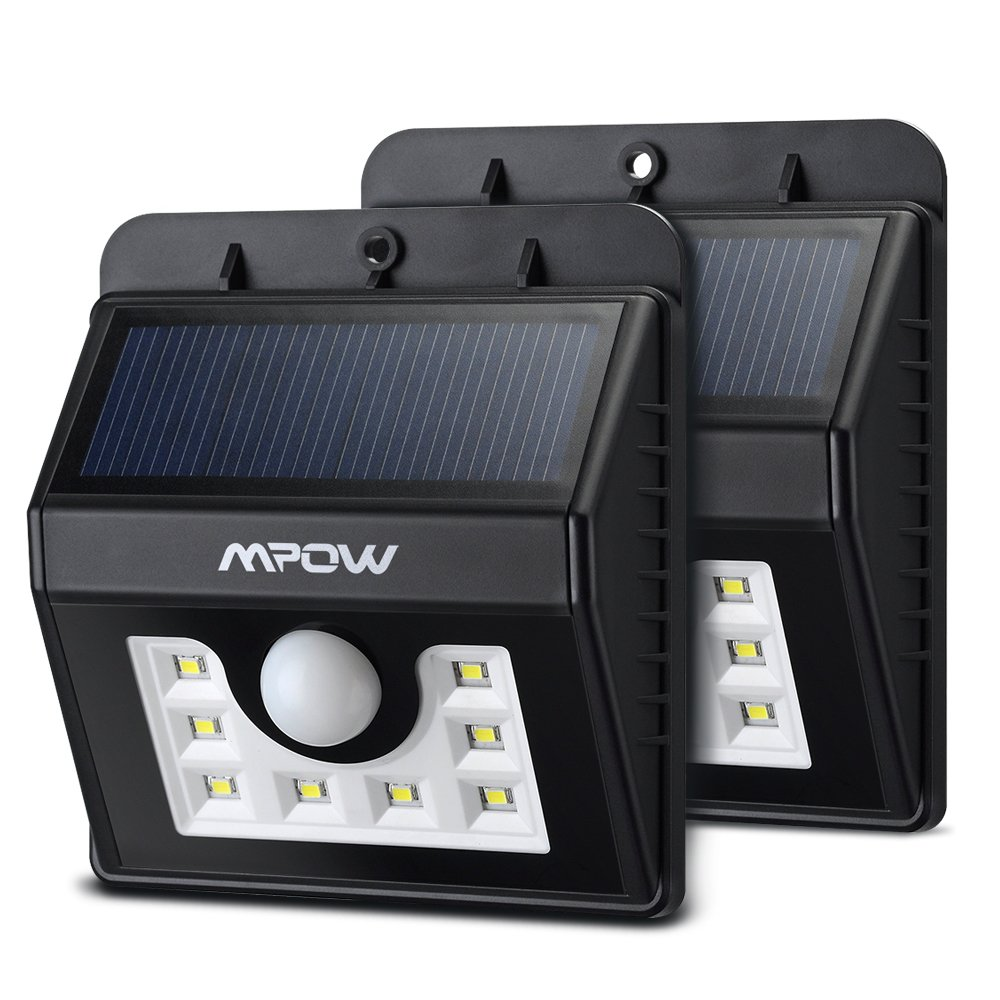 (8 LED£©Solar Lights, Mpow 3-in-1 Wireless Weatherproof Security Light Motion Sensor Lamp with 3 Intelligent Modes for Garden, Outdoor, Fence, Patio, Deck, Yard, Home, Driveway, Stairs, Outside Wall etc.(2 Units) MSL6-UK