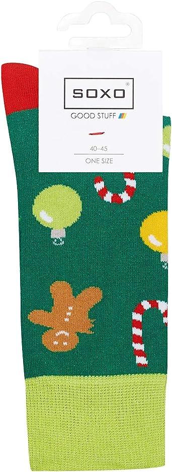 soxo Calcetines Navide/ños de Colores de Hombre 2 Pares talla 40-45 EU Set de Calcetines con Dibujos Originales| Divertido Regalo de Algod/ón Calcetines Calientes de Navidad y Invierno