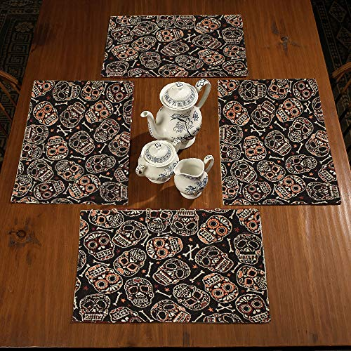 (Gilbin Halloween Tapestry Washable Table Place Mats Set of 4,Ghost Skull Pumpkin Trick Treat Table)