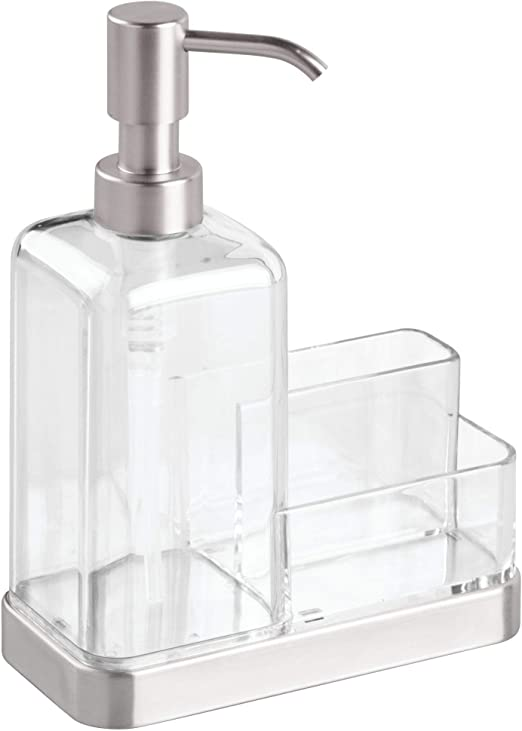 iDesign Forma Kitchen Countertop Soap Dispenser Pump, Sponge, Scrubby  Organizer - Clear/Brushed Stainless