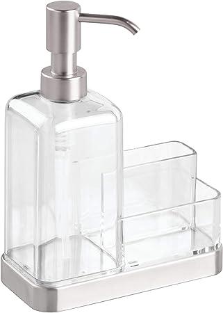 iDesign Forma 2 Dosificador jabón + Estropajo para Cocina, Plata ...