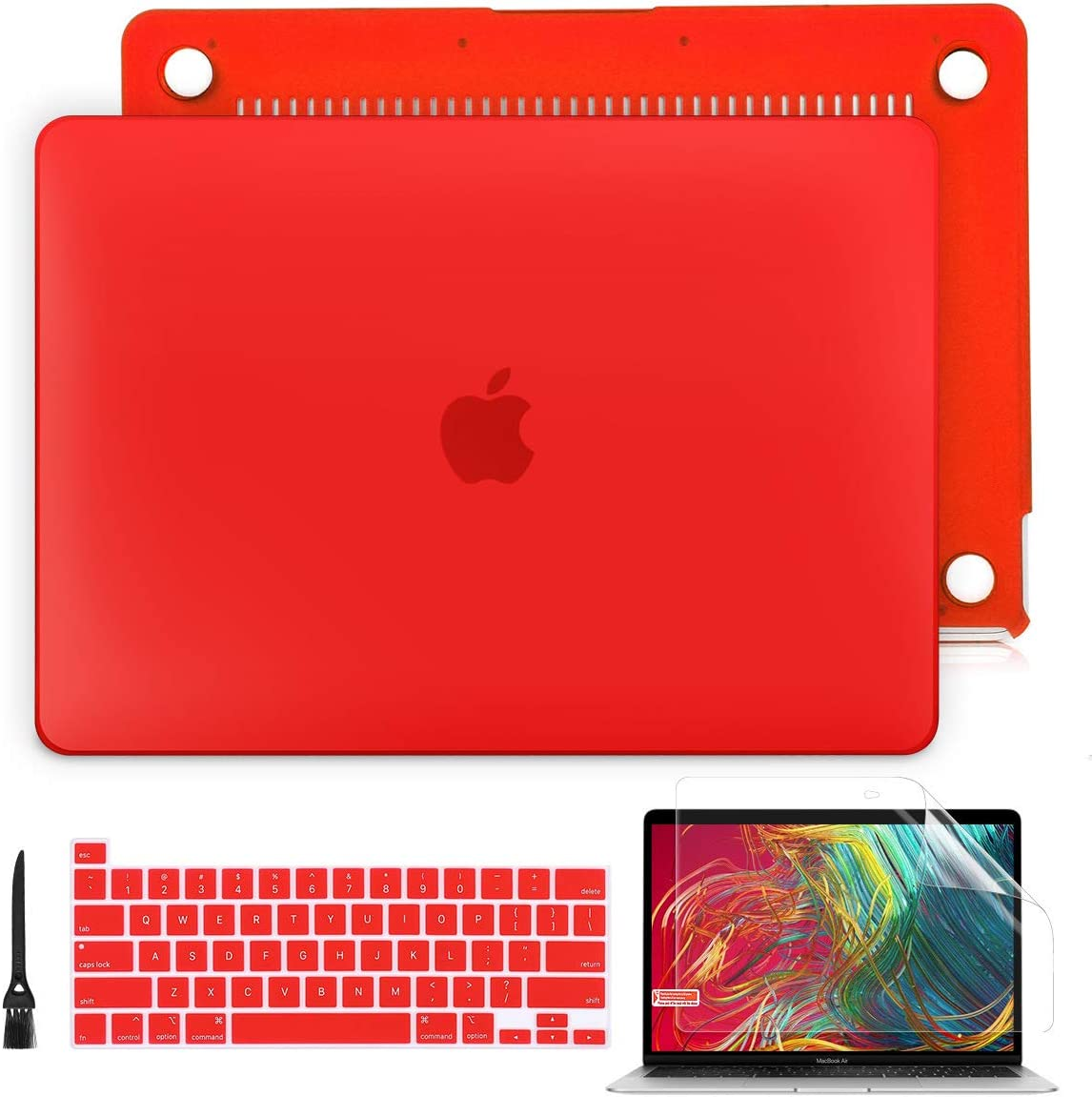 Batianda Laptop Case for MacBook Pro 13 2020 Rlease Plastice Hard Shell Cover with Keyboard Cover and Screen Protector for Mac Pro 13'' Touch Bar Model A2289/A2251,Matte Red