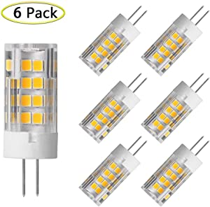 G4 LED Bulbs 5W Equivalent to 40W T3 JC Type G4 Halogen Bulb Bi-Pin G4 Base AC/DC 12V Warm White 3000K G4 LED Light Bulb Not-Dimmable (6 Pack)